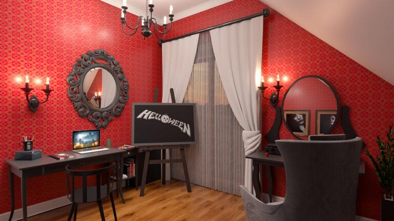 pokój dla dziewczynki w stylu gotyckim