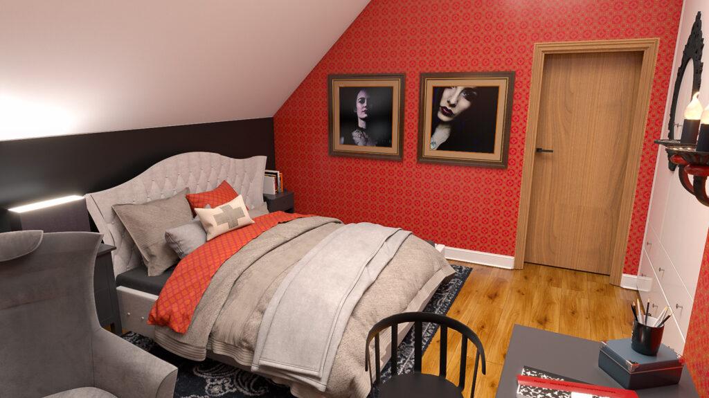 sypialnia dziewczynki projekt w stylu gotyckim