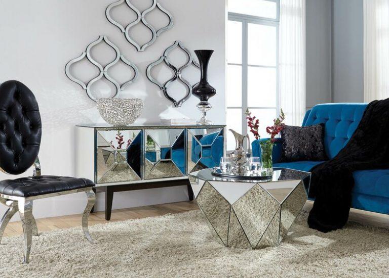 pokój, salon w stylu glamour
