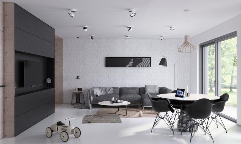 pokój, salon w minimalistycznym stylu