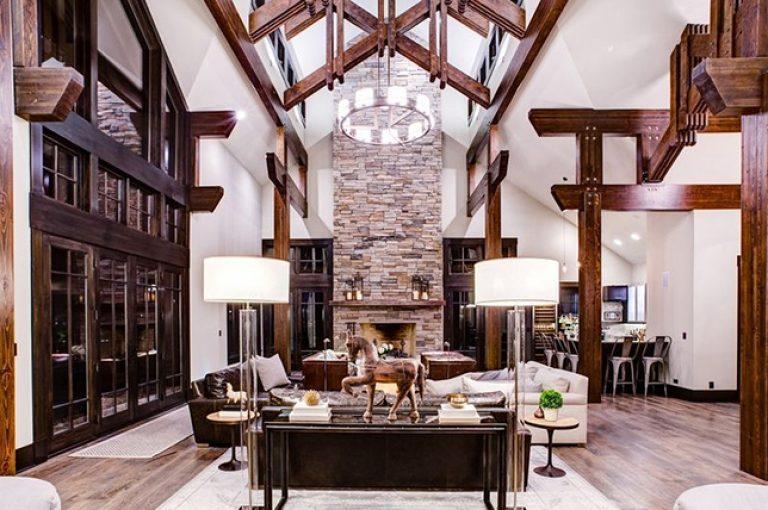 salon w stylu rustykalnym, piękne dekoracje