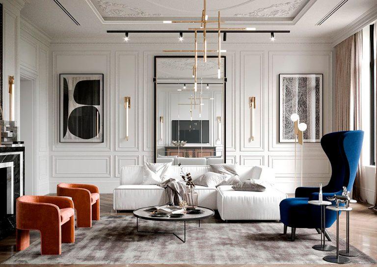 nowoczesny klasyczny styl wnętrza salonu