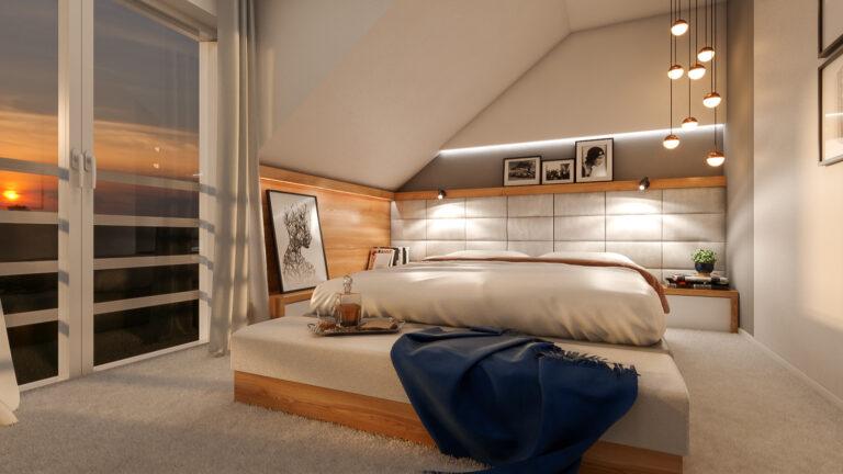 aranżacja sypialni pod skosem