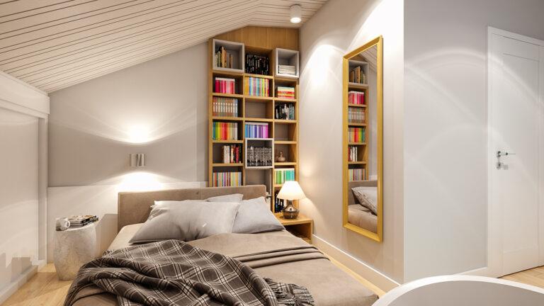 sypialnia pod skosem i tapeta