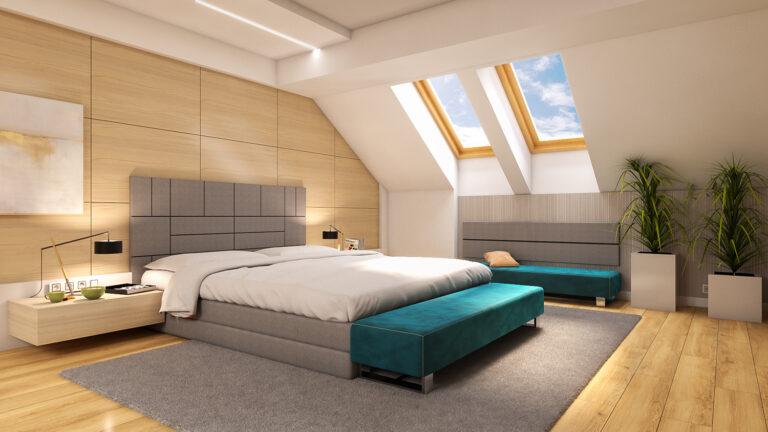 projekt sypialni pod skosami