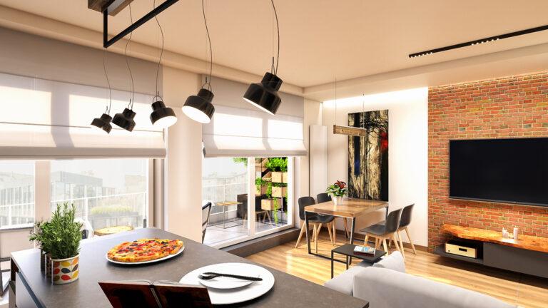 nowoczesna aranżacja salonu z kuchnia