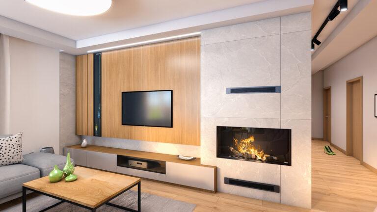 wnętrze salonu, kolorystyka jasna i drewno