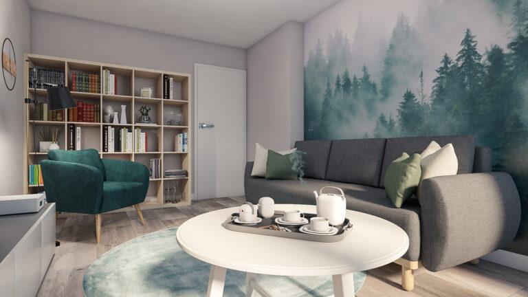 projekt salonu, zielone kolory