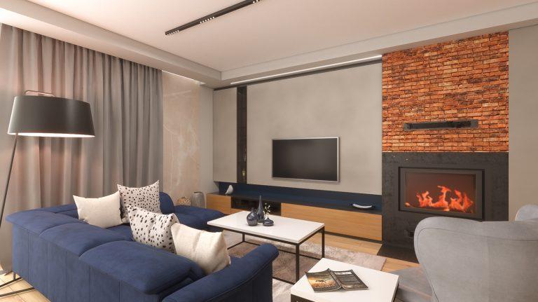 ściana z cegły i kominek w salonie