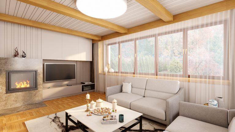 słoneczny salon z kominkiem