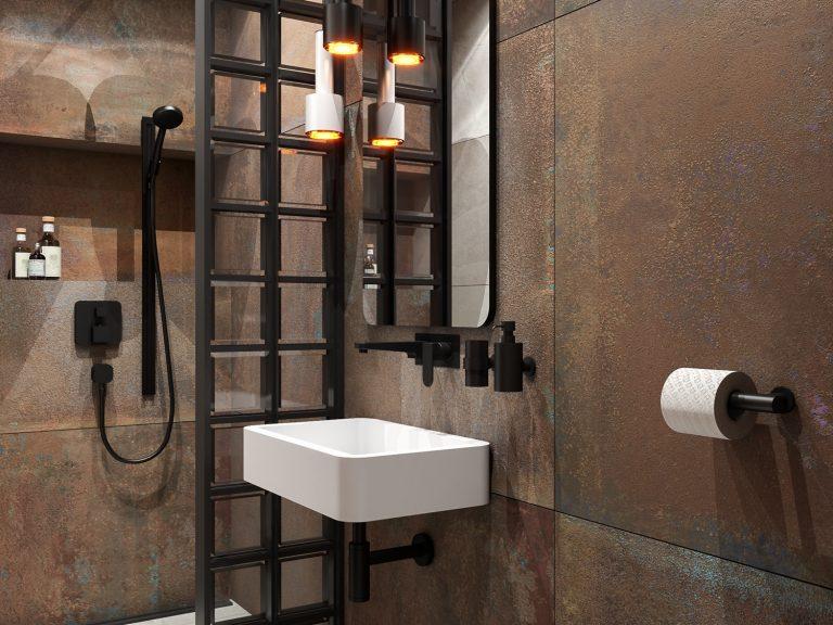 niewielka, nowoczesna łazienka - projekt abrys