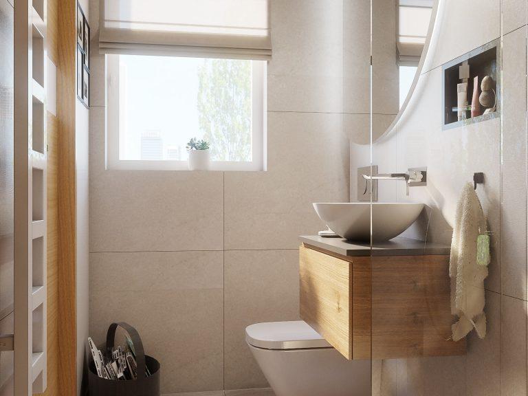 aranżacja małej, jasnej łazienki abrys