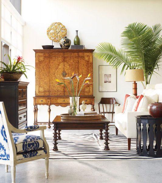 wnętrze salonu w stylu kolonialnym
